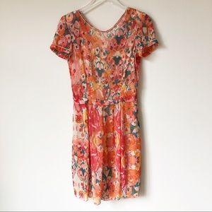 Aldomartins Floral Abstract Short Sleeve Dress
